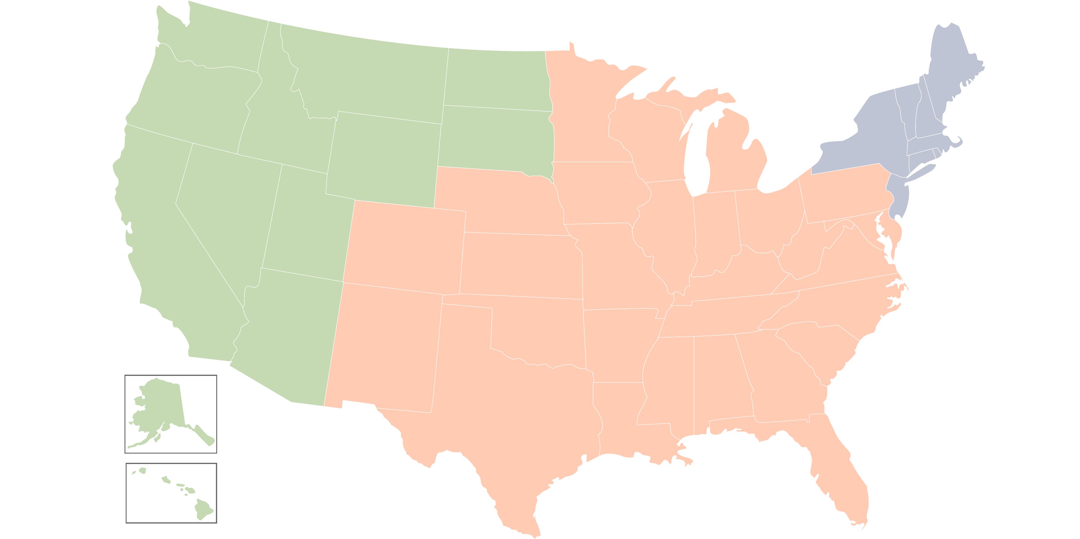 Map of U.S. defining regions that each IR team member represents
