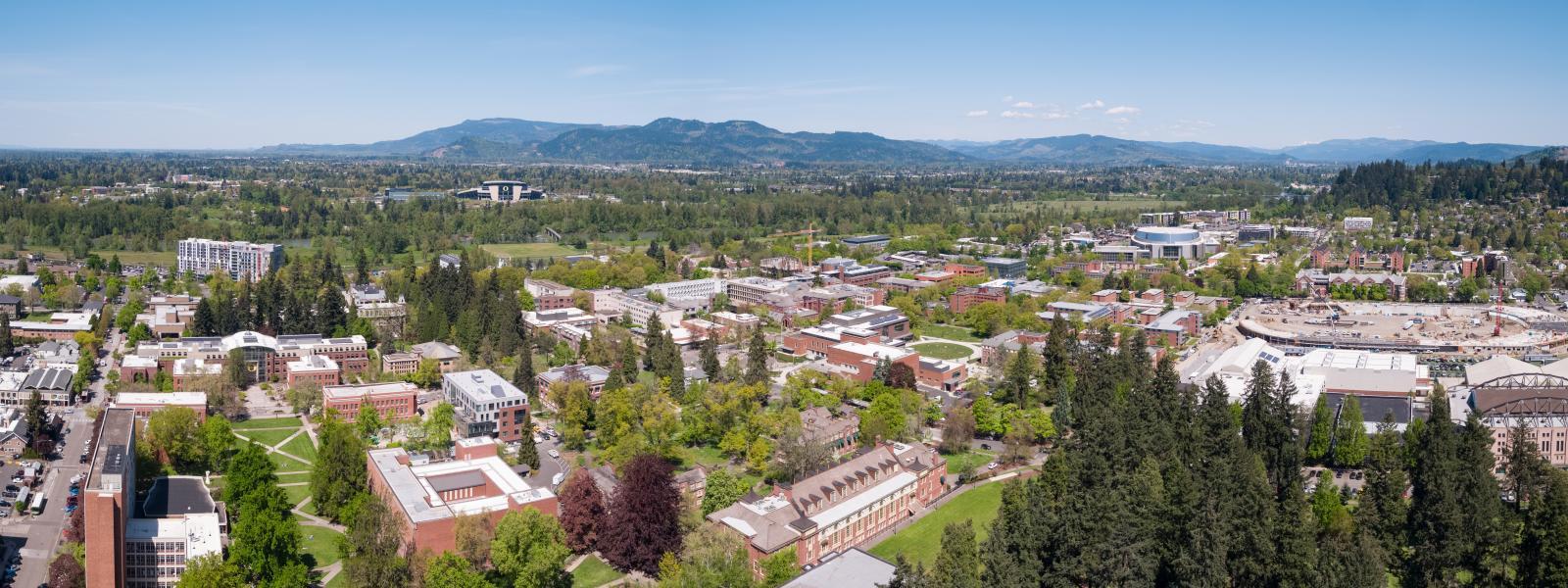 aerial photo of UO campus