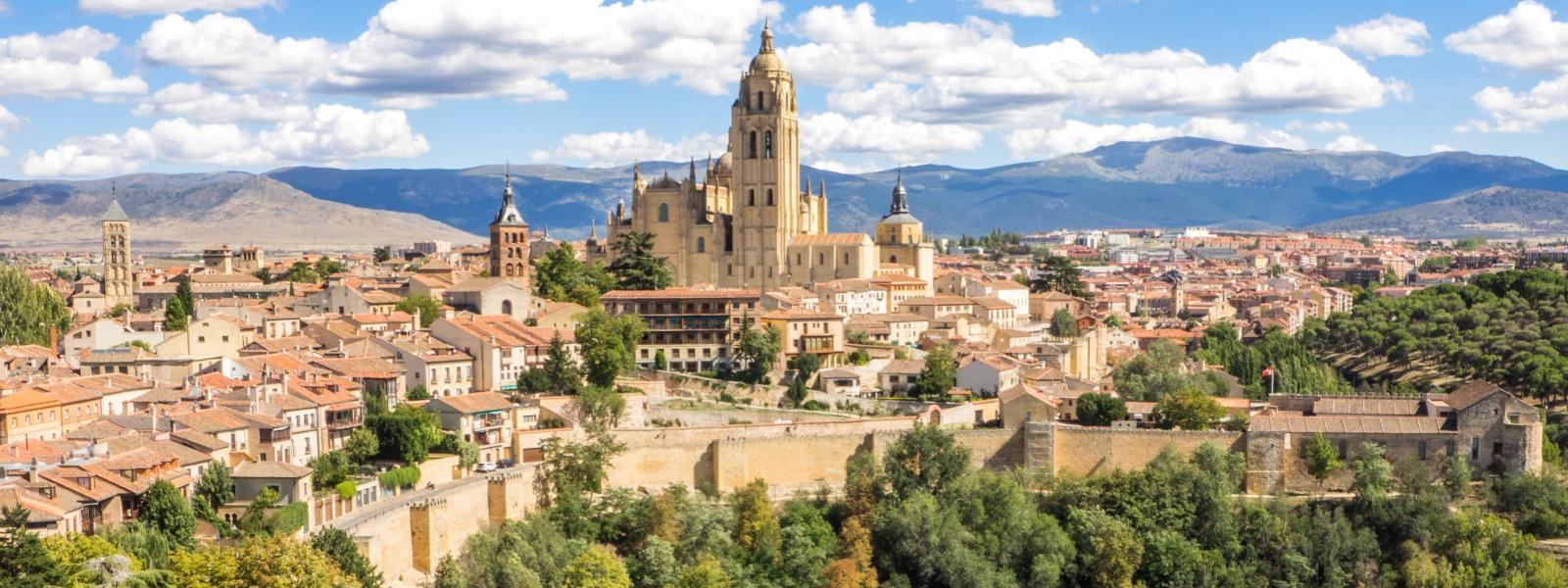 aerial photo of Segovia, Spain