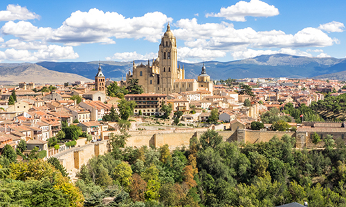aerial photo of Segovia, Spain